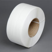 """Global Industrial™ 8"""" x 8"""" Core Machine Grade Strapping, 12900'L x 3/8""""W x 0.021"""" Thick, White"""