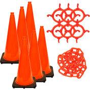 Mr. Chain 93213-6 Traffic Cone & Chain Kit - Traffic Orange, 93213-6