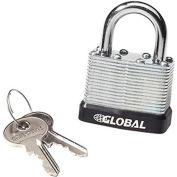 Global Industrial™ General Security Laminated Steel Padlock, Bumper & 2 Keys -Keyed Differently