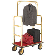 """Global Industrial™ Gold Stainless Steel Bellman Cart Straight Uprights 8"""" Pneumatic Casters"""