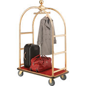 """Best Value Gold Stainless Steel Bellman Cart Curved Uprights 6"""" Rubber Casters"""