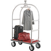 """Best Value Silver Stainless Steel Bellman Cart Curved Uprights 8"""" Pneu Casters"""