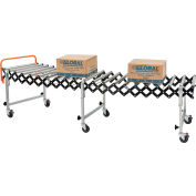 "Global Industrial™ Portable Flexible & Expandable 2'8"" to 8'6"" Conveyor - Steel Rollers - 24""W"