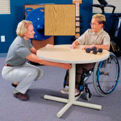 Gas Spring-Assist Height Adjustable Round Therapy Table - Oak