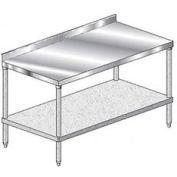 "Aero Manufacturing 3TGS-30132 132""W x 30""D Stainless Steel Workbench, 2-3/4"" Backsplash & Shelf"