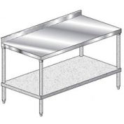 "Aero Manufacturing 4TGS-24132 132""W x 24"" D Stainless Steel Workbench, 2-3/4"" Backsplash & Shelf"
