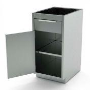 "AERO Stainless Steel Base Cabinet BC-1401, 1 Hinged Door, 1 Shelf, 1 Drawer, 24""W x 21""D x 36""H"