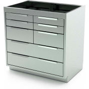 """AERO Stainless Steel Base Cabinet BC-3701, 8 Drawers, 36""""W x 21""""D x 36""""H"""
