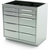 """AERO Stainless Steel Base Cabinet BC-4100, 10 Drawers, 30""""W x 21""""D x 36""""H"""