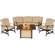 Traditions 5-Piece Outdoor Patio Set w/ Cast-Top Fire Pit Table