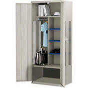 ALB Plus Gear Locker 9-3624-PED-44 w/Doors, Coat Bar - Shelves, 36x24x72 Gray - All-Welded