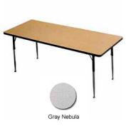 """Table d'activité - Rectangle - 30 """"X 60"""" - hauteur de Adj. Standard - gris nébuleuse"""
