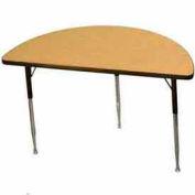 "ADA Activity Table - Half-Round - 24"" X 48"", Adj. Height, Light Oak"