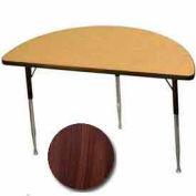 "Activity Table -  Half-Round - 24"" X 48"" - Standard Adj. Height - Walnut"