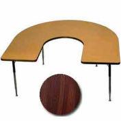 "Activity Table - Horseshoe - 60"" x 66"", Standard Adj. Height, Walnut"