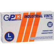 Ammex® GPX3 Industrial Grade Vinyl Gloves, 3 Mil, Powder-Free, Large, Clear, 100/Box
