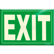 Photoluminescent Green Exit Rigid PVC Sign, Non-Adhesive