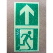 "Photoluminescent Directional Marker for Floors - Man Running + Arrow, 2""W x 4""L"