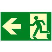 """Photoluminescent """"Man/Arrow To Left"""" NYC Mea-Listed Aluminum Sign"""