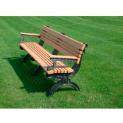 Polly Products Cambridge 6 Ft. Backed Bench with Arms, Brown Bench/Black Frame