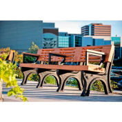 Polly Products Elite 8 Ft. Backed Bench with Arms, Cedar Bench/Brown Frame