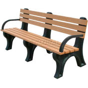Polly Products Econo-Mizer 6 Ft. Backed Bench with Arms, Cedar Bench/Brown Frame