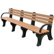 Polly Products Econo-Mizer 8 Ft. Backed Bench with Arms, Green Bench/Green Frame
