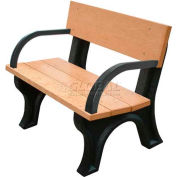 Polly Products Landmark 4 Ft. Backed Bench with Arms, Cedar Bench/Brown Frame