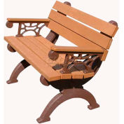 Polly Products Monarque 4 Ft. Backed Bench with Arms, Green Bench/Brown Frame