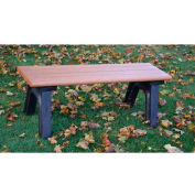 Polly Products Park Classic 4 Ft. Flat Bench, Cedar Bench/Black Frame