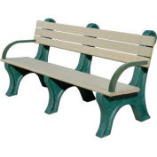 Polly Products Park Classic 6 Ft. Backed Bench with Arms, Green Bench/Green Frame