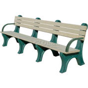 Polly Products Park Classic 8 Ft. Backed Bench with Arms, Brown Bench/Brown Frame