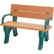 Polly Products Traditional 4 Ft. Backed Bench with Arms, Cedar Bench/Brown Frame