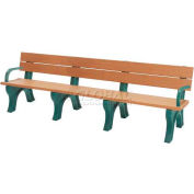 Polly Products Traditional 8 Ft. Backed Bench with Arms, Cedar Bench/Brown Frame