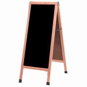"""Aarco Solid Oak A-Frame Sidewalk Black Marker Board - 18""""W x 42""""H"""