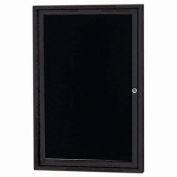 "Aarco 1 Door Letter Board Cabinet Black Powder Coat - 24""W x 36""H"