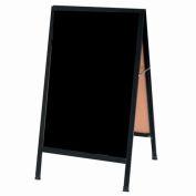 """Aarco Aluminum Black Powder Coated A-Frame Sidewalk Black Acrylic Board - 24""""W x 42""""H"""