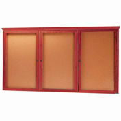"""Aarco 3 porte rouge cerise babillard w / moulure - W 72"""" x 36"""" H"""