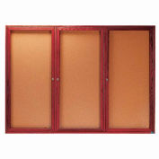 """Aarco 3 Door Cherry Enclosed Bulletin Board - 72""""W x 48""""H"""