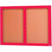 """Aarco 2 porte encadrée de manteau de poudre rouge clos babillard - W 60"""" x 48"""" H"""