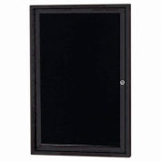 "Aarco 1 Door Enclosed Letter Board Cabinet Black Powder Coated - 24""W x 36""H"