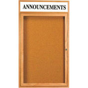 "Aarco 1 Door Oak Enclosed Bulletin Board w/ Header - 24""W x 36""H"
