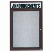 "Aarco 1 Door Enclosed Alum Framed Bulletin Board w/ Header Bronze Anod. - 18""W x 24""H"