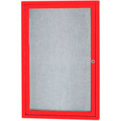 "Aarco 1 Door Aluminum Framed Enclosed Bulletin Board Red Powder Coat - 24""W x 36""H"