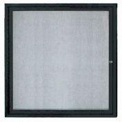 "Aarco 1 Door Aluminum Framed Enclosed Bulletin Board Black Powder Coat - 36""W x 36""H"