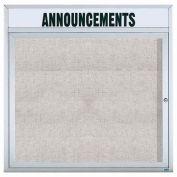 "Aarco 1 Door Enclosed Alum Framed Bulletin Board w/ Header, Illuminated - 36""W x 36""H"