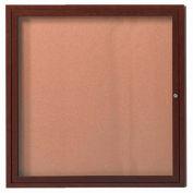 "Aarco 1 Door Aluminum Frame Wood Look, Walnut Enclosed Bulletin Board - 36""W x 36""H"