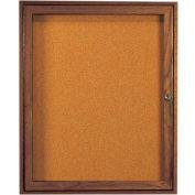 "Aarco 1 Door Walnut Enclosed Bulletin Board - 30""W x 36""H"