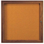 "Aarco 1 Door Walnut Enclosed Bulletin Board - 36""W x 36""H"