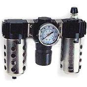 """Arrow 1/2"""" Modular FRL W/O End Ports D33354W, Gauge, Metal Bowl W/Sight, Manual & Arrow Fog LUBR"""